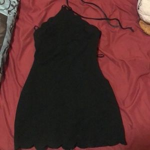 Halter tie black dress